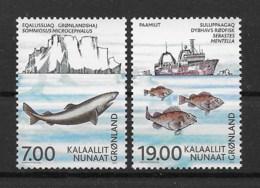 Grönland 2002 Fische Mi.Nr. 387/88 Kpl. Satz ** - Greenland