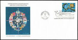 UNITED NATIONS, NEW YORK - U.N. Postal Administration, 25th Anniv. First Day Cover (FDC205) - New-York - Siège De L'ONU