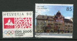 19065 SUISSE N°1567, 1921 °Candiature De Sion Aux Jeux Olympiques 2006, Millénaire De Stein Am Rhein  1998-2007   B/TB - Used Stamps