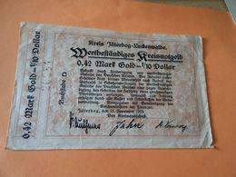 Wertbeständiges Kreisnotgeld  0,42 Mark Gold = 1/10 Dollar 1923 Jüterbog - [ 3] 1918-1933: Weimarrepubliek