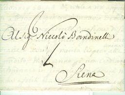 """GRANDUCATO DI TOSCANA (SACRO ROMANO IMPERO)-LETTERA,ampio Testo,LIVORNO-SIENA,1738,OGGETTO COMMERCIALE """"GRANI DI MAREMMA - 1. ...-1850 Prefilatelia"""