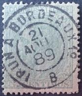 """DF50500/911 - SUPERBE +++ Oblitération : Cachet AMBULANT """" IRUN à BORDEAUX 1° B Du 21 AOÜT 1889 """" Sur Timbre étranger - France"""
