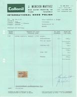 Factuur Collonil Shoe Polish Tournai 1970 - Belgio