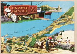 X64687 CHATAGNEAU N 2 - LA COTE BASQUE IRUN à LE BOUCAU Carte Géographique Illustration André MARCY - France