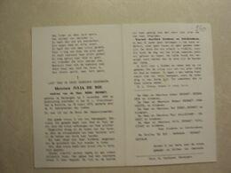 BP 250 - DE BIE JULIA - DENTERGEM 07.11.1899  - KORTRIJK 18.03.1972 - ZIE 2 FOTO'S - Images Religieuses