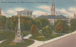 WORCESTER, Massachusetts, 1930-40s; Soldiers' Monument, City Hall & Common - Worcester