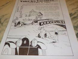 ANCIENNE PUBLICITE POUR LES VACANCES  HUILE  KERVOLINE  1930 - Transportation