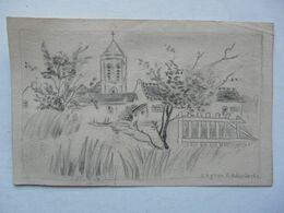 DESSIN AU CRAYON PAPIER : L'Eglise D'Adinkerke - Other