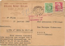 GANDON MAZELIN PERFORE PERFIN NB CARTE ATELIERS NEYRET BEYLIER GRENOBLE ISERE 18.1.1947 - Perfins