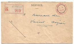 CACHET ROUGE JOINVILLE S/M 31.5.1943 HTE MARNE LETTRE REC SERVICE POUR ST DIZIER - Marcofilie (Brieven)