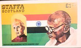 Famous People MAHATMA GANDHI With Nehru 1947 Bloc  Imperfect Mnh Staffa - Mahatma Gandhi