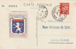 France Cachet Athlétisme-Armée De L'air Lyon Sur Carte Postale 9.8.42 - Marcophilie (Lettres)