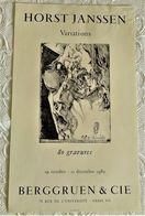 AFFICHE ANCIENNE ORIGINALE EXPOSITION HORST JANSSEN GRAVURE Galerie Berggruen Paris 7 1982 - Old Paper