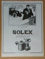 1927 Solex Goudard & Mennesson Neuilly-sur-Seine D'après Jean Routier (carburateur) - Bougie Champion - Publicité - Old Paper