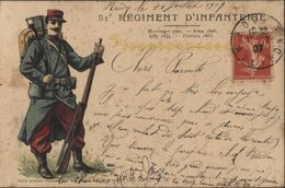 CP Illustrée 81e Régiment D'infanterie Marengo Ieana Isly Puebla A Storck Co Lyon Paris CAD Rodez 10 7 07 YT 138 - 1877-1920: Semi Modern Period