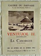 AFFICHE ANCIENNE ORIGINALE EXPOSITION H. VENTUJOL Aquarelles La Camargue Provence Galerie Du Parnasse PARIS 6è 1964 - Old Paper