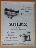 1927 Solex Goudard & Mennesson Neuilly-sur-Seine (carburateur) - Belle Jardinière Par Chazelle (Art Déco) - Publicité - Old Paper