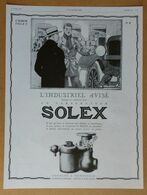 1928 Solex Goudard & Mennesson Neuilly-sur-Seine D'après Jean Routier (carburateur) - Bougie Champion - Publicité - Old Paper