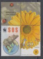 ISRAEL 2001 PERSONAL STAMP RHINOCEROS WWF - Rinocerontes
