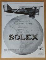1928 Solex Exploit De Costes Et Le Brix Avion Bréguet... Goudard & Mennesson Neuilly-sur-Seine (carburateur) - Publicité - Old Paper