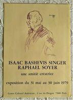 AFFICHE ANCIENNE ORIGINALE EXPOSITION Raphaël SOYER ISAAC BASHEVIS SINGER 1979 Centre Culturel Américain Paris 6è - Old Paper
