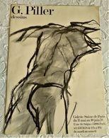 BELLE AFFICHE ANCIENNE ORIGINALE EXPOSITION G. PILLER DESSINS 1978 Galerie Suisse De Paris 6è Nu - Old Paper