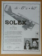 1928 Solex Costes Et Le Brix... Goudard & Mennesson Neuilly-sur-Seine (carburateur) -Dixor Par Jacques Leclerc-Publicité - Old Paper