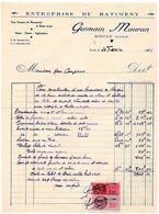 FACTURE : Entreprise Du Bâtiment Germain MAURAN à RISCLE (Gers), 1941, Deux Timbres Fiscaux. - France