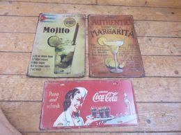 Lot De 3 Plaques En Tôle Mojito,Margarita,Coca Cola - Cartelli Pubblicitari