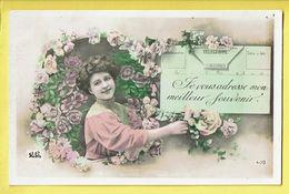 * Fantaisie - Fantasie - Fantasy * (JE Paris, Nr 408) Telegramme, Poste, Je Vous Adresse Meilleur Souvenir, Roses, TOP - Post & Briefboten