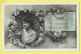 * Fantaisie - Fantasie - Fantasy * (nr 408) Telegramme, Poste, Je Vous Aime Soyez Discret, Post, Fleurs Roses Love Amour - Post & Briefboten