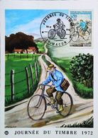 """VÉLO   """"  Facteur Rural à Bicyclette En 1894  """"  French Postman (Carte Maximum Card 71-MACON    Timbre 1972) - Post & Briefboten"""