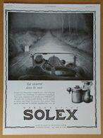 1929 Solex D'après Léon Fauret (Carburateur Goudard & Mennesson Neuilly-sur-Seine) - Northeaster - Publicité - Old Paper