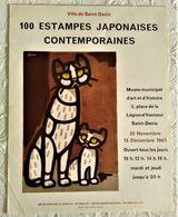 AFFICHE ANCIENNE ORIGINALE LITHOGRAPHIQUE EXPOSITION 100 ESTAMPES JAPONAISES CONTEMPORAINES 1963 Ville Saint Denis Chat - Old Paper