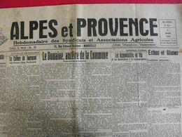 Journal Alpes Et Provence Du 8 Mars 1942. Hebdomadaire Des Syndicats Et Associations Agricoles - Journaux - Quotidiens