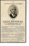 85 - LES HERBIERS - Faire Part De Décès De Louis Rondeau  ( De La ROGERIE  ) En 1944 - Avvisi Di Necrologio