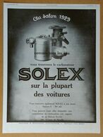 1929 Solex Au Salon... (Carburateur Goudard & Mennesson Neuilly-sur-Seine) - Bougie AC Pour Chaque Moteur - Publicité - Old Paper