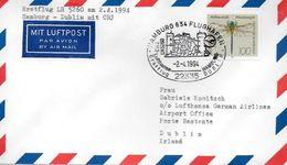 ALLEMAGNE  Lettre Poste Aerienne  1994 1er Vol  LH  5260  Hanburg  - Dublin Avions CRJ - Airplanes
