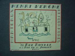 Publicité Ancienne - Henri Vergne - Rue Royale - Paris - Manteaux Et Fourrures - Old Paper