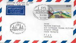 ALLEMAGNE  Lettre Poste Aerienne  1993 1er Vol  LH  5890   Hamburg  - Rija Avions  CRJ - Airplanes