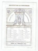 1 Carte Porcelaine Société De La Concorde Grand Bal D'Inauguration Gand 1845  Sculpteur Defferrez  Lith.DE Busscher VG - Ansichtskarten