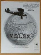 1929 Solex Coste Et Bellonte... (Carburateur Goudard & Mennesson Neuilly-sur-Seine) - Le Controlex Cicca - Publicité - Old Paper
