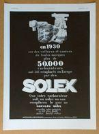 1931 Solex (Carburateur Goudard & Mennesson Neuilly-sur-Seine) - Silexore Peinture L. Van Malderen - Publicité - Old Paper