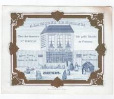 1 Carte Porcelaine, A La Morue De Hollande, Place Petit Marché Au Poisson, Lescrauwaet Van Troostenberghe  Bruges C1845 - Ansichtskarten