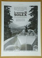 1936 Solex (Carburateur Goudard & Mennesson Neuilly-sur-Seine) - Guilleminot - Le Bassin Thermal Du Centre.. - Publicité - Old Paper