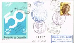 37279. Carta Certificada BARCELONA 1988. Aniversario Juan Carlos Y Reina SOFIA. Franquicia Capitania - 1931-Heute: 2. Rep. - ... Juan Carlos I