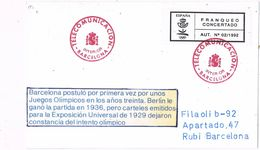 37280. Tarjeta BARCELONA 1992. Marca Telecomunicaciones. Cartel Olimpiada Para 1929 - 1931-Aujourd'hui: II. République - ....Juan Carlos I