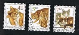 REP. CECA (CZECH REPUBLIC) - SG 224.226  - 1999 CATS (COMPLET SET OF 3)  -   USED - República Checa