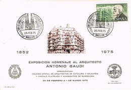 37282. Tarjeta BARCELONA 1975. LA PEDRERA De GAUDI, Homenaje Colegio Arquitectos - Non Classés