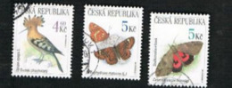 REP. CECA (CZECH REPUBLIC) - SG 229.231  - 1999 NATURE CONSERVATION: BIRDS & BUTTERFLIES  -   USED - República Checa